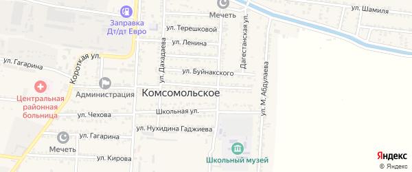 Пионерская улица на карте Комсомольского села Дагестана с номерами домов