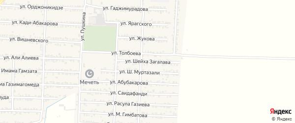 Улица Шейха Загалава на карте Комсомольского села Дагестана с номерами домов