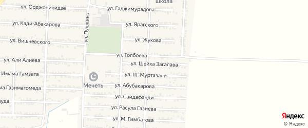 Улица Шейха Муртазали на карте Комсомольского села Дагестана с номерами домов