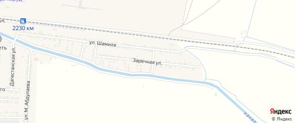 Заречная улица на карте Комсомольского села Дагестана с номерами домов