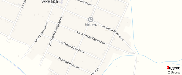 Улица Магомеда Гаджиева на карте села Акнады с номерами домов