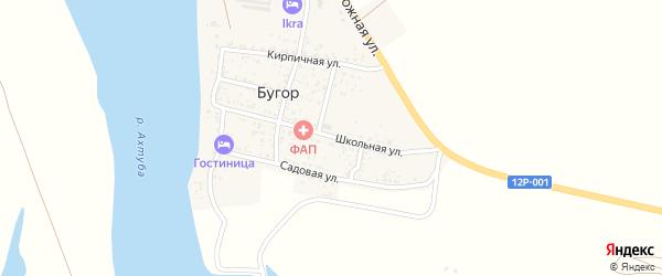 Школьная улица на карте поселка Бугра Астраханской области с номерами домов