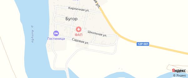 Узенький переулок на карте поселка Бугра Астраханской области с номерами домов