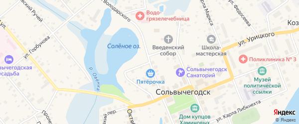 Курортная улица на карте Сольвычегодска с номерами домов