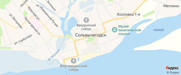 Карта деревни Берега города Сольвычегодска в Архангельской области с улицами и номерами домов