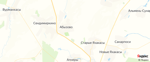 Карта Малояушского сельского поселения Республики Чувашии с районами, улицами и номерами домов