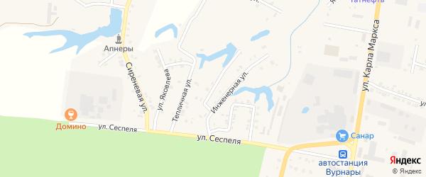 Мясокомбинатская улица на карте поселка Вурнары Чувашии с номерами домов