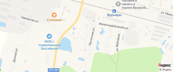 Лесхозная улица на карте поселка Вурнары Чувашии с номерами домов
