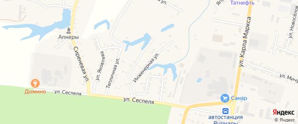Инженерная улица на карте поселка Вурнары Чувашии с номерами домов