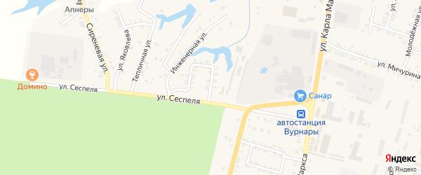 Запрудная улица на карте поселка Вурнары Чувашии с номерами домов