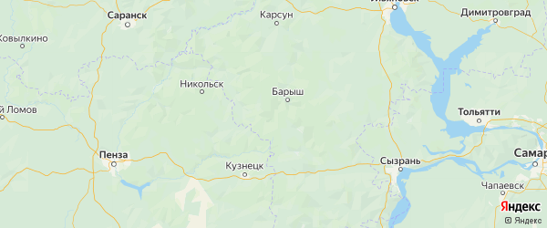Карта Барышского района Ульяновской области с городами и населенными пунктами