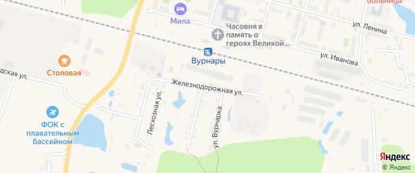 Железнодорожная улица на карте поселка Вурнары Чувашии с номерами домов