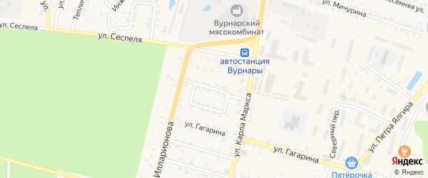 Переулок К.Маркса на карте поселка Вурнары Чувашии с номерами домов