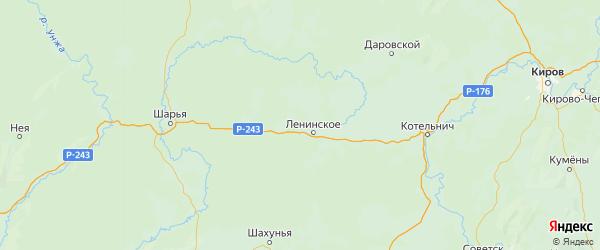 Карта Шабалинского района Кировской области с городами и населенными пунктами