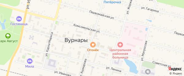 Улица Ашмарова на карте поселка Вурнары Чувашии с номерами домов