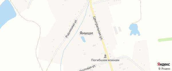 Улица 50 лет Победы на карте деревни Яныши Чувашии с номерами домов
