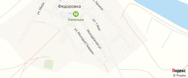 Молодежная улица на карте села Федоровки Астраханской области с номерами домов