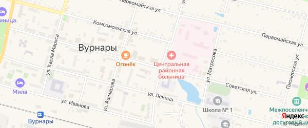 Кирпичная улица на карте поселка Вурнары Чувашии с номерами домов
