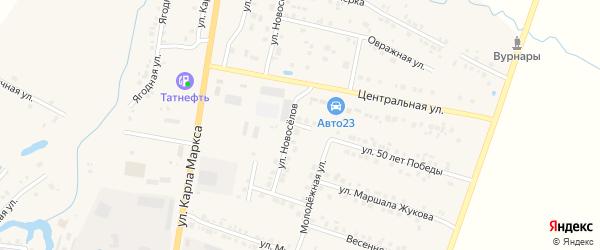 Улица 50 лет Победы на карте поселка Вурнары Чувашии с номерами домов