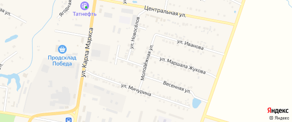Молодежная улица на карте поселка Вурнары Чувашии с номерами домов