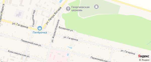 Базарная улица на карте поселка Вурнары Чувашии с номерами домов