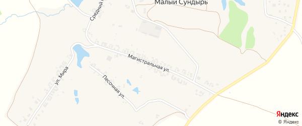 Магистральная улица на карте деревни Малого Сундыря Чувашии с номерами домов