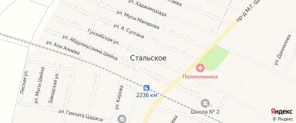 Лесная улица на карте Стальского села Дагестана с номерами домов