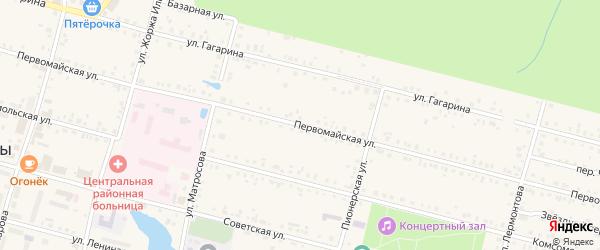 Первомайская улица на карте поселка Вурнары Чувашии с номерами домов