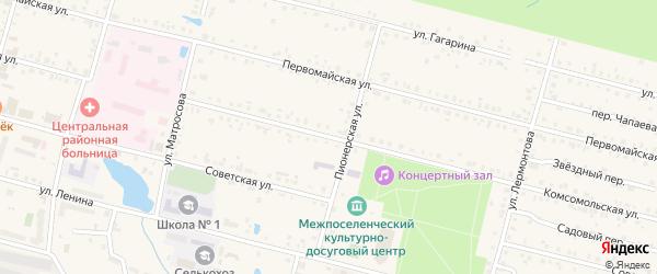 Комсомольская улица на карте поселка Вурнары Чувашии с номерами домов