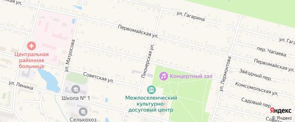 Пионерская улица на карте поселка Вурнары Чувашии с номерами домов