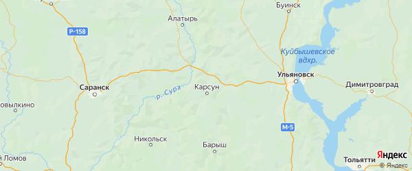 Карта Карсунского района Ульяновской области с городами и населенными пунктами