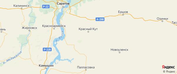 Карта Краснокутского района Саратовской области с городами и населенными пунктами