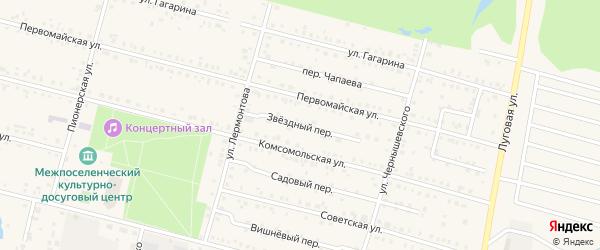 Звездный переулок на карте поселка Вурнары Чувашии с номерами домов
