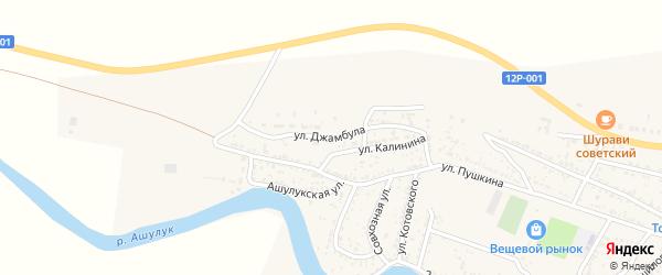 Улица Джамбула на карте села Сасыколи Астраханской области с номерами домов