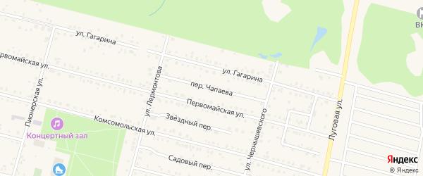 Переулок Чапаева на карте поселка Вурнары Чувашии с номерами домов