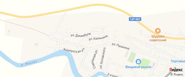 Улица Калинина на карте села Сасыколи Астраханской области с номерами домов