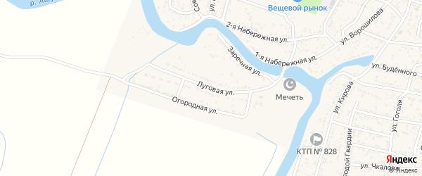 Луговая улица на карте села Сасыколи Астраханской области с номерами домов