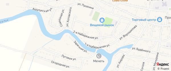 Набережная 2-я улица на карте села Сасыколи Астраханской области с номерами домов