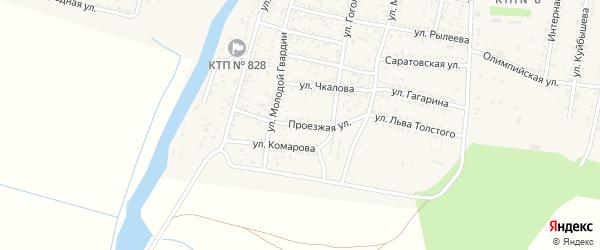 Проезжая улица на карте села Сасыколи Астраханской области с номерами домов