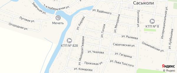 Сасыкольская улица на карте села Сасыколи Астраханской области с номерами домов