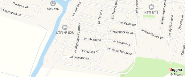 Улица Чкалова на карте села Сасыколи Астраханской области с номерами домов