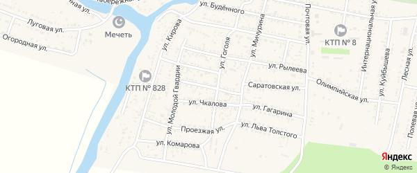 Комсомольская улица на карте села Сасыколи Астраханской области с номерами домов