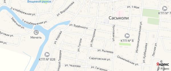 Улица Некрасова на карте села Сасыколи Астраханской области с номерами домов