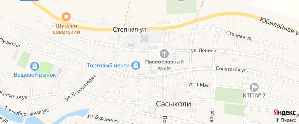 Переулок Павших Борцов на карте села Сасыколи Астраханской области с номерами домов