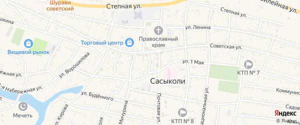 Детский переулок на карте села Сасыколи Астраханской области с номерами домов