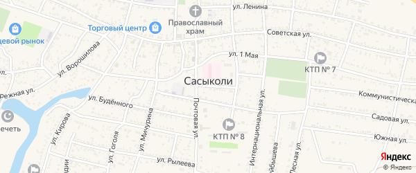 Базарная площадь на карте села Сасыколи Астраханской области с номерами домов