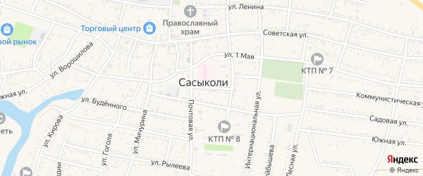 Улица Лычманова на карте села Сасыколи Астраханской области с номерами домов