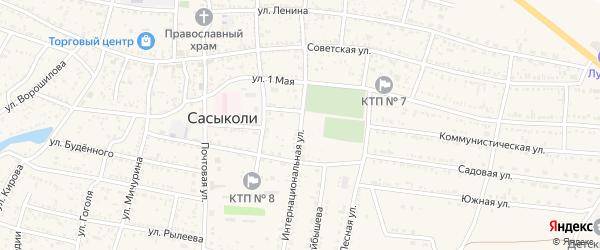 Интернациональная улица на карте села Сасыколи Астраханской области с номерами домов