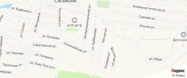 Улица Куйбышева на карте села Сасыколи Астраханской области с номерами домов