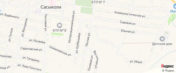 Лесная улица на карте села Сасыколи Астраханской области с номерами домов